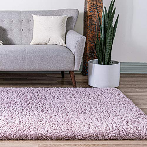 Infinity Collection Solid Shag Area Rug by Rugs.com – Lavender 5' x 8' High-Pile Plush Shag Rug Perfect for Living Rooms, Bedrooms, Dining Rooms and More