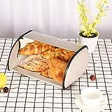 Bread Box Bread Storage Box with Roll Top Cover Cute Bread Storage Container Like Banana Bread (Gray)