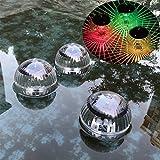 HINMAY Luces de estanque, 1 paquete de luz solar flotante para estanque, impermeable, LED, 7 colores cambiantes, para jardín, piscina, jardín, jardín, patio, piscina, fuente, pecera (colorido)