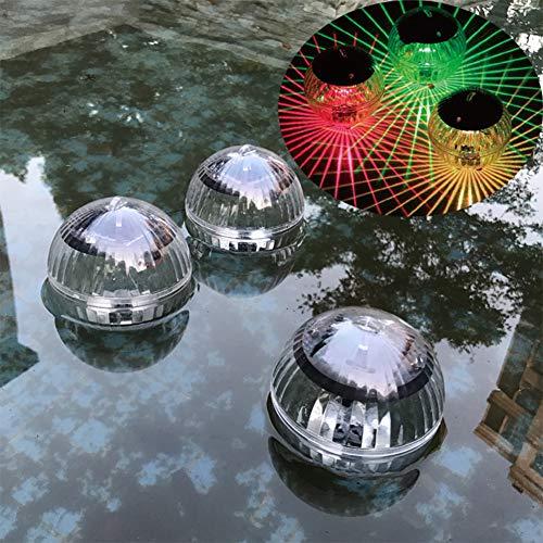 HINMAY Luces de estanque, 1 paquete de luz solar flotante para estanque, impermeable, LED, 7 colores cambiantes, para jardín, piscina, jardín, jardín, patio, piscina, fuente, pecera