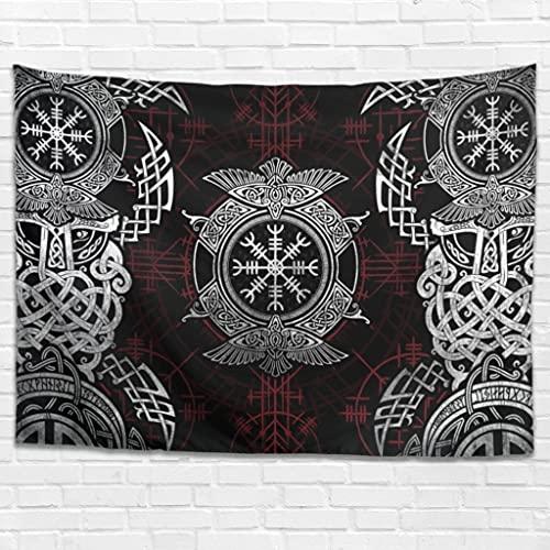 Tapiz de pared con runas vikingas, cuervo hippy, decoración de pared, para dormitorio, salón, como toalla de playa, manta de picnic, color blanco, 230 x 150 cm