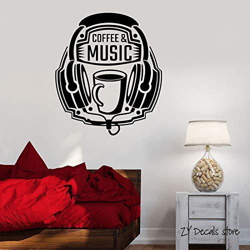 jiushivr Kaffee Musik Kopfhörer Wandtattoos Musical Teen Room Wandaufkleber Schlafzimmer Wanddekor Für Schlafzimmer Kunstwand Tapete 56x64 cm