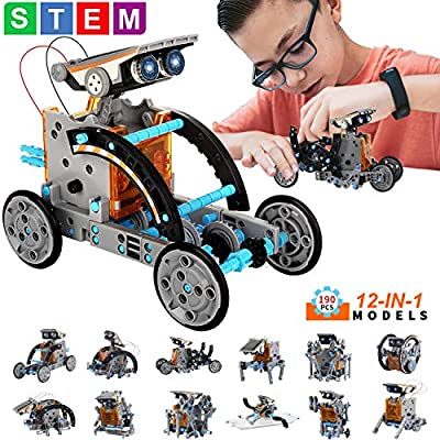 JOCCIK STEM Toys Solar Robot 12-in-1 Educational Science Kits Toys, Learning Science Building Toys-Powered by Solar, DIY Toys Robot Science Kits for Boys and Girls Gifts