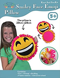 Big Smile Face, Emoji, Sew and Stuff Kit. Felt Pillow Ideal Kids Craft Kit Includes all Supplies. Fun Activity. Ages 5-12. All Inclusive Arts and Crafts, w/ Vibrant Colors Ideal Rainy Day Activity