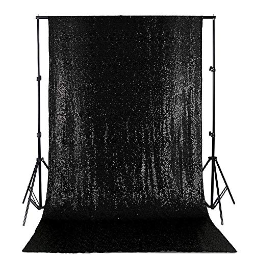 Sequin Backdrop 4ft x 8ft Black Background for Halloween Party Photography Backdrop Curtain Panels Glitter Background Drapes