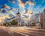 Lienzos Para Pintar Con Numeros Hotel Gran Vía Madrid Pintar por números Kits,con 3Pinceles y Acrílica Pinturas para Pintar en Lienzo,Bricolaje Adultos Niños Decoracion de Pared Regalos 40x50 Cm