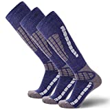 PureAthlete Ski Socks - Best Lightweight Warm Skiing Socks (Blue\/Silver - 3 Pack, Small\/Medium)