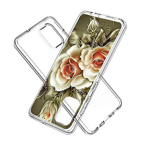 Coque Samsung Galaxy A71, Silicone Bumper, Transparent PC + TPU Hybride Boîtier de Protection avec Carte de Mode (Rose)