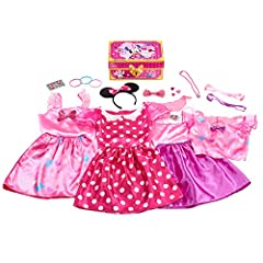 Your little Minnie Mouse fan will love mixing and matching Minnie-inspired tops and skirts, including a double-sided skirt for more fashion play. Accessorize Minnie outfits with the bangle bracelets, heart-shaped rings, and heart-shaped necklace. 21-...