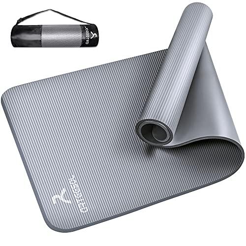 arteesol Yogamatte Non-Slip NBR Material Gymnastikmatte 185cm * 80cm * 1/1,5cm Fitnessmatte für Yoga Pilates Fitness Workout & Gymnastik Trainingsmatte (Grau, 185x80x1,5cm)