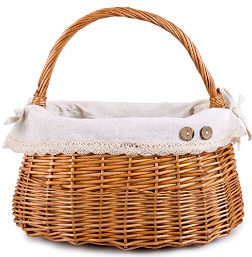BASIC HOUSE Handbag Shaped High Handle Wicker Shopping Baskets collection Gift Hamper Fabric Lining (1 pc)