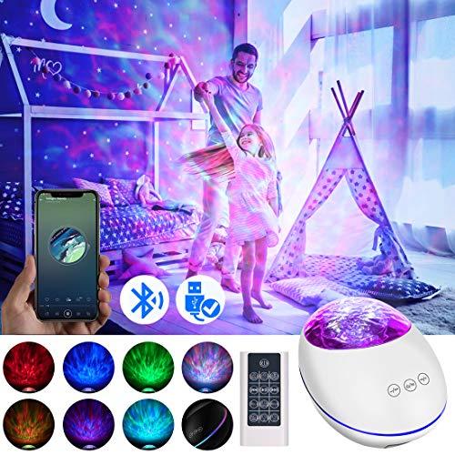 LED Projektor Sternenhimmel Lampe,LED Projektor Bluetooth Musik Stimmungslicht mit Fernbedienung,Wasserwellen Projektionslampe, Ferngesteuerte Nachtlichter für Geschenke/Dekoration/Kinder/Erwachsene