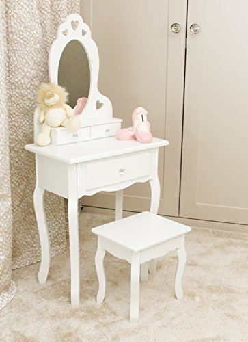 Runesol Girls Dressing Table With Mirror and Stool, Childrens White Wooden Kids Vanity Table with Crystal Knobs Childs Dressing Table Set for a Kid, Children Aged (3-7)