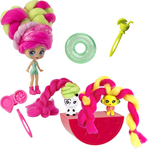 Candylocks, 3-Pack, Kiwi Kimmi 3-inch Scented Collectible Surprise Doll and 2 Pets with Accessories