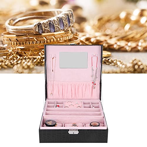 Organizador de joyas, hermosa y encantadora caja de almacenamiento de joyas con espacio suficiente de cuero artificial para joyería para tocador