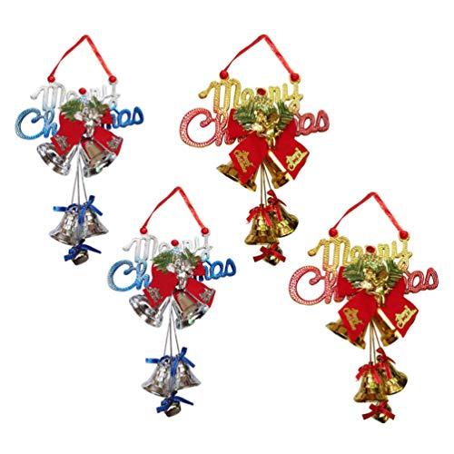 NUOBESTY - 4 campanas grandes de Navidad con lazo, para colgar en el árbol de Navidad