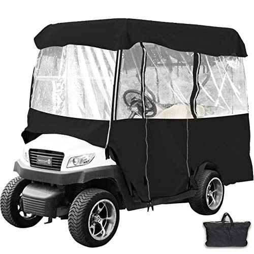 Happybuy Golf Cart Cover 4-Sided Driving Enclosure for 4 Passenger Driving Enclosure Waterproof Golf Cart Cover EZGo and Yamaha G Model(Black 022)