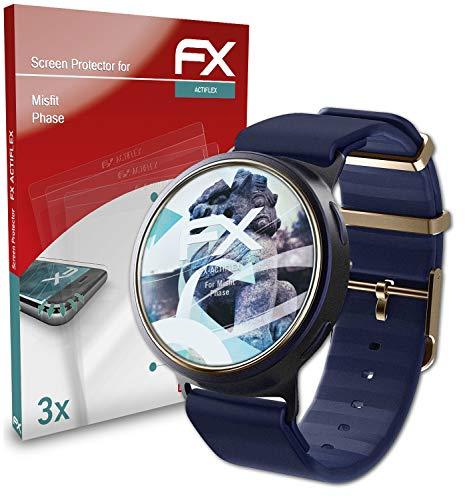atFoliX Schutzfolie kompatibel mit Misfit Phase Folie, ultraklare & Flexible FX Bildschirmschutzfolie (3X)