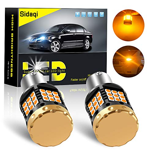 Sidaqi 2x Bright Canbus Error Free 1156 BA15S P21W Lampadina LED 1850LM 3030 45SMD Indicatori di direzione 12V Senza flash Indicatori di direzione anteriori e posteriori per auto, ambra