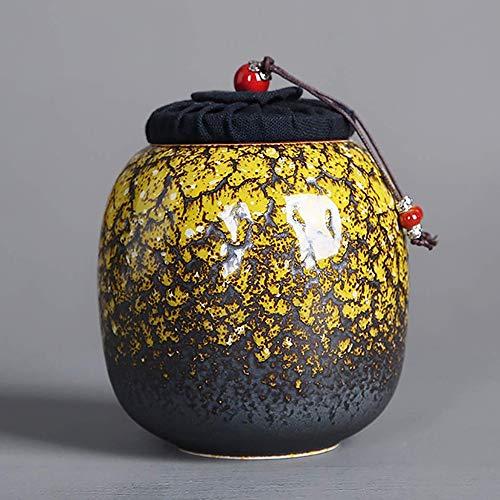 Tarro de regalo Tapas selladas de carrito de té Bote de té de cerámica, tarro de cerámica decorativa con tapa de verano y té de otoño, café Caja de almacenamiento de caramelo Almacenamiento de cocina