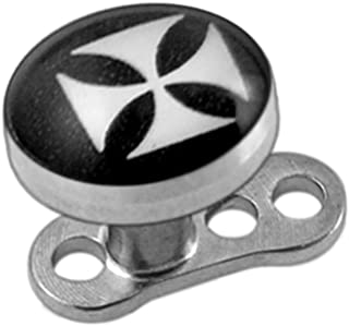 AtoZ Piercing 5MM Logo Picture Surgical Steel Top with Titanium Base Micro Dermal Anchor Jewelry
