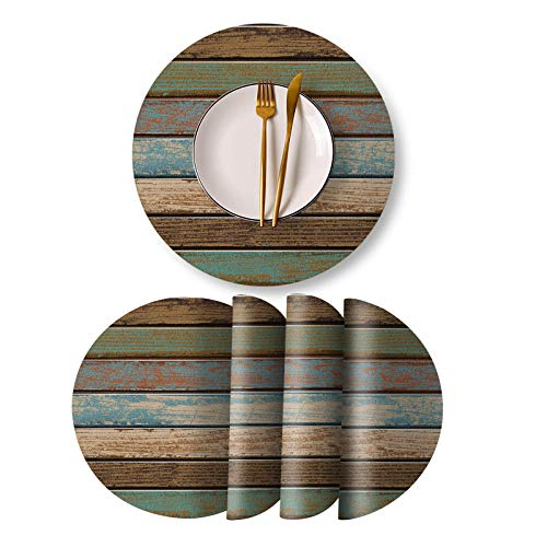Rustic Plank Placemats Dinner Mat Round Placemats for Round Table