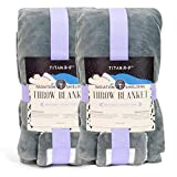 [2-Pack] Mission Darkness TitanRF Radiation Shielding Throw Blanket 50' x 60' (127cm x 152cm) Ultra-Soft Materials Reversible Gray and White Blanket with Lab Certified EMF Radiation Protection Liner