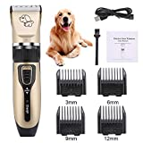 lovebay Dog Electric Clippers Cat Shaver,USB Rechargeable Cordless Dog Grooming Kit, With LED Display, Quiet, Detachable Blades Washable, Electric Pets Hair Trimmers Shaver Shears for All Pets