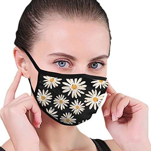 Daisy On Black 3D Prints - Máscara de media cara para cuello, bufanda para deportes al aire libre