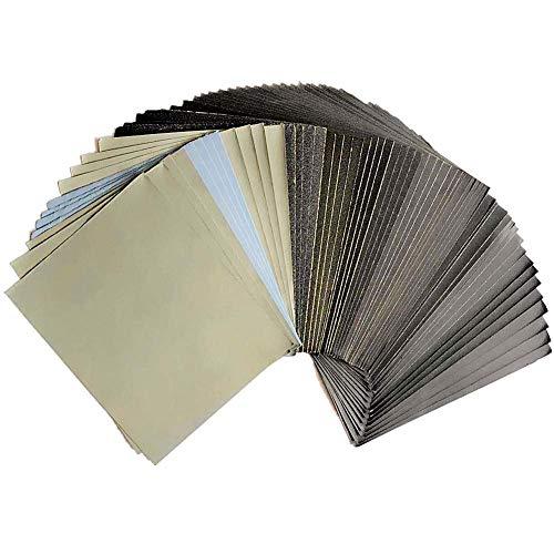 Schleifpapier 240-3000 / 5000/8000/10000 Grobkörniges Nassschleifpapier für Holz 115MM * 140MM, Metallschleifen und Autopolieren Holzmöbel Endschleifen (42 Stück)