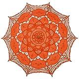 tggh Paraguas de novia de moda paraguas de algodón bordado de novia, paraguas vintage elegante de encaje paraguas nupcial (color de la imagen)
