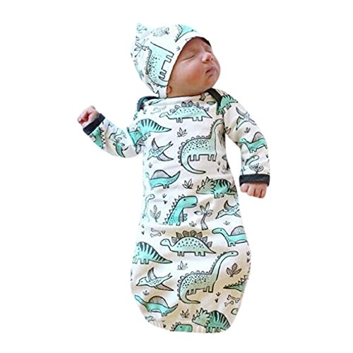 Staron Newborn Baby Cotton Gowns Dinosaur Sleeping Bag Pajamas Swaddle Wrap Gowns (A)