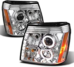 For 2002-2006 Cadillac Escalade Chrome Clear Halo Ring DRL Daylight LED Strip [Halogen Type] Projector Headlights