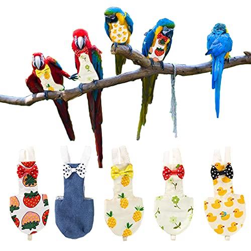 CDIYTOOL Pañales para loros de pájaros, paquete de 5 pañales lavables para aves de corral para mascotas, pañales, ropa de granja, reutilizables para periquitos loros guacamayos periquitos canarios