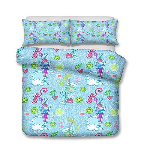 Juego de cama de franela con diseño de helado y bebidas frías, de tres piezas, para invierno, (A1, 140 x 210 cm + 50 x 75 cm x 2)