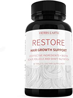 RESTORE Hair Growth Support For Longer & Stronger Hair, Hair Growth Solution 23 All Natural Ingredients w Biotin, Silica &...