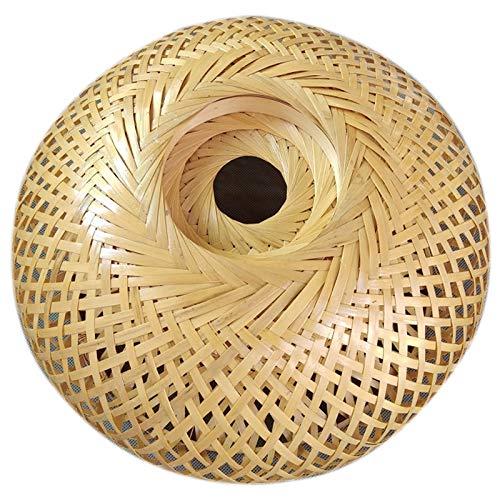 Noblik - Pantalla de mimbre de bambú tejida a mano, doble capa, diseño de lámpara japonesa rústica asiática
