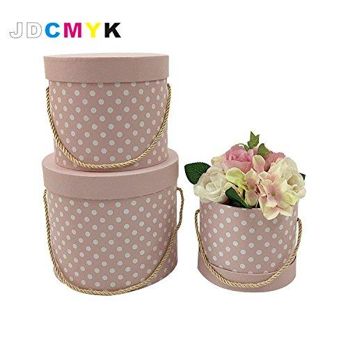 Jdcmyk DOT punto rotondo fiori confezione regalo, fiore box. 3pcs/set (include l m S size) 4colori a scelta pink