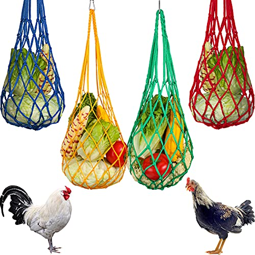 4 Pieces Chicken Vegetable String Bag Chicken Cabbage Feeder Treat Feeding Tool Chicken Vegetable Cabbage Snack Hanging Feeder Toys with Hook for Chickens, Goose, Duck, Large Birds