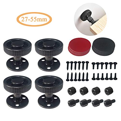 4 Sets Bed Frame Anti-Shake Tools- Adjustable Threaded Anti Shake Fixer/Headboard Stoppers, Bedside Telescopic Support Stabilizer for Room Wall, Beds, Cabinets, Sofa, 27-55mm (Black)
