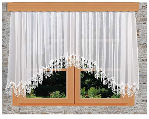 kollektion MT Edler Blumenfenster-Store Nastja weiß mit aufwändig eingearbeiteter 15cm breiter gebogter Fächerspitze aus Echter Plauener Spitze mit Reihband Fertiggardine
