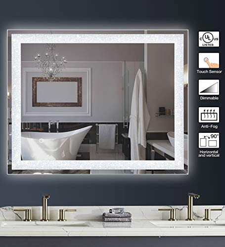 MAGGIIC Crystal Inlay UL Listed 28 x 36 Inch Horizontal&Vertical Dimmable LED Bathroom Makeup Vanity Mirror Wall Mounted Mirror Anti-Fog+IP44 Waterproof +CRI>90