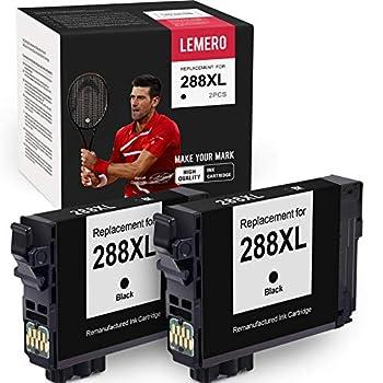 LEMERO Remanufactured Ink Cartridges Replacement for Epson 288 288XL T288XL T288 for Epson Expression Home XP-440 XP-446 XP-430 XP-340 XP-330 XP-434  2 Black