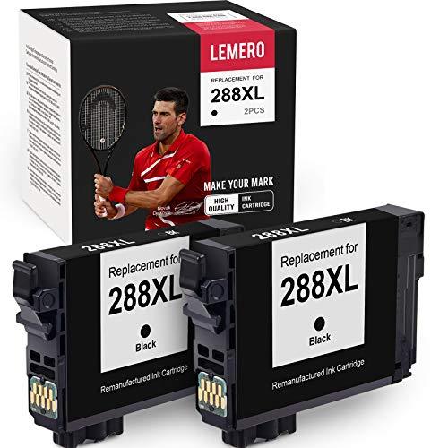 LEMERO Remanufactured Ink Cartridges Replacement for Epson 288 288XL T288XL T288 for Epson Expression Home XP-440 XP-446 XP-430 XP-340 XP-330 XP-434 (2 Black)