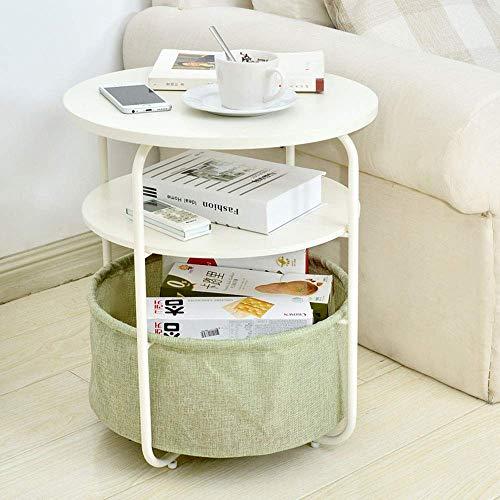 Home&Selected Furniture / 3-delige ronde bijzettafel met opbergmand, nachtkastje, 42 x 51 cm (kleur: A)