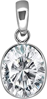 Anuj Sales Certified 11.00 Ratti 10.45 Carat Deluxe Quality Natural Oval Zircon Stone Panchdhatu Pendant/Locket Silver Pla...