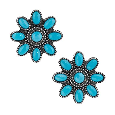 American West Sterling Silver Turquoise Gemstone Cluster Button Post Earrings