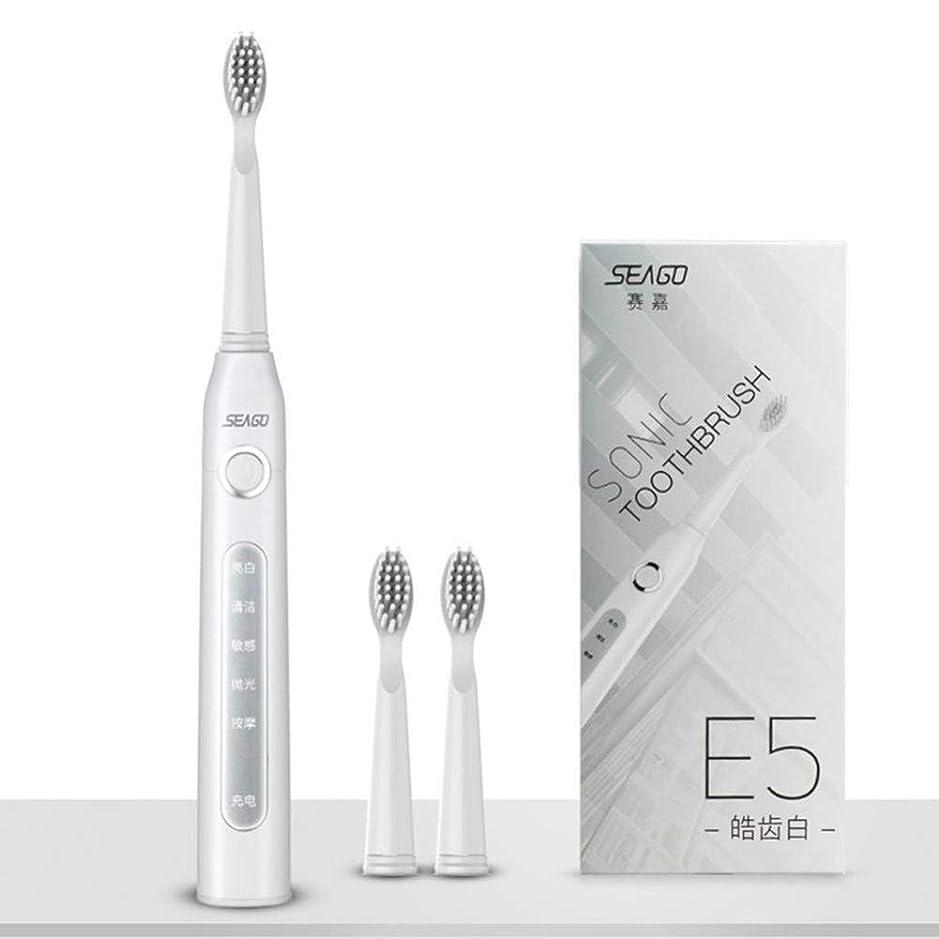 正当な外向き通行人Usb充電式電動歯ブラシ大人の防水ディープクリーン歯ブラシ2交換ヘッド5クリーニングモード、ホワイト