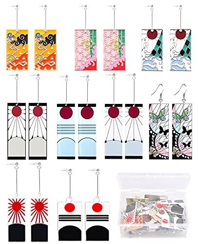 9 Pairs Anime Demon Slayer Tanjiro Earrings Butterfly Acrylic Drop Earrings Tsuyuri Kanawo Cosplay Accessory Prop for Women and Men