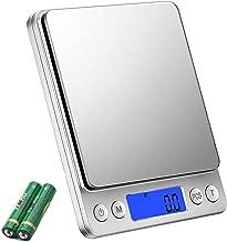 デジタルスケール キッチンスケール 0.1g単位 電子スケール クッキングスケール 精密電子はかり 計量器 電子天秤 0.5gから3.0kgまで コンパクト 計量可能風袋引き機能 オートオフ機能 個数計算機能付き 多用途超小型 シルバー